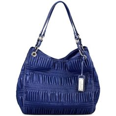 Nine West Handbag, Show Stopper Large Open Tote ($62) ❤ liked on Polyvore featuring bags, handbags, tote bags, blue handbags, pocket tote, blue purse, vegan leather tote and faux leather tote