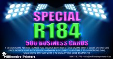 Business Card Special - Millionaire Printers  R184.00 for 500 cards  - 1 design/name per 500 cards  - Full colour both sides (350gsm matt + gloss UV one side)  - Price includes vat, but excludes design & delivery  - Lead time 7 to 14 working days - Valid until 31st July 2019  - To qualify use code BCMP31719 #businesscards #branding #business #businesscard #printing #lithoprinting #gauteng #namecard #brandidentity #marketing #smallbusiness #smallbusinessowners #print #printingservices