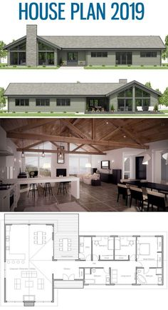 Moderner Bauernhaus-Plan, Hauptpläne, Haus-Pläne, - House plans - Home Design Barn House Plans, New House Plans, Dream House Plans, Small House Plans, House Floor Plans, Barn Homes Floor Plans, Modern Farmhouse Plans, Farmhouse Style, Farmhouse Decor