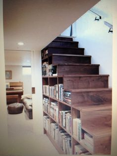 Book shelves tucked under a staircase