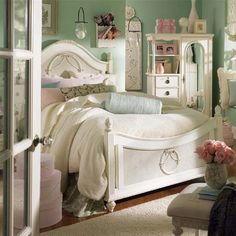 Shabby decor with a mirrored door chest.