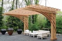 The pergola kits are the easiest and quickest way to build a garden pergola. There are lots of do it yourself pergola kits available to you so that anyone could easily put them together to construct a new structure at their backyard. Diy Pergola, Building A Pergola, Wooden Pergola, Outdoor Pergola, Pergola Plans, Backyard Patio, Backyard Landscaping, Pergola Ideas, Retractable Pergola