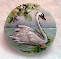 Handcrafted Porcelain Button Swan Swimming on Lake FREE US SHIPPING