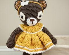 Crochet Amigurumi Bear Toy with Dress - Choco - Ready to Ship