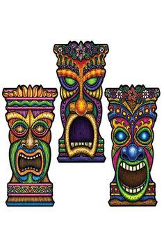 3 Décorations Tiki Décoration Exotique   Deguisement-magic Exotique