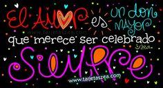 Celebrar el amor a diario-lettering que dice: el amor es un don que merece ser celebrado siempre © ZEA www.tarjetaszea.com