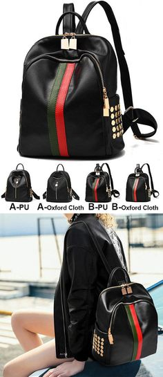 Unique Black PU Green Red Vertical Stripes Bag Frosted Oxford Cloth Rivet Backpack for big sale! #oxford #bag #stripe #black #PU #green #punk #rivet
