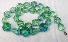 Chunky Art Deco Uranium Blue Green Glass Necklace