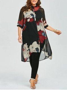 Plus Size Longline Button Up Chiffon Flowy Tunic Top - Red Polyester Chiffon Plus Size Blouses, Plus Size Tops, Plus Size Dresses, Plus Size Outfits, Plus Size Fashion For Women, Curvy Women Fashion, Plus Size Women, Womens Fashion, Mode Outfits