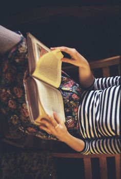 floral with stripes and an old book