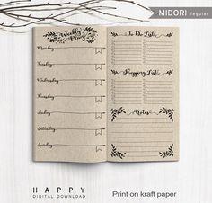 Printable Weekly Planner, Midori Weekly Planner, Printable Midori Traveler's Notebook weekly planner inserts, PDF file by HappyDigitalDownload on Etsy https://www.etsy.com/listing/278265030/printable-weekly-planner-midori-weekly