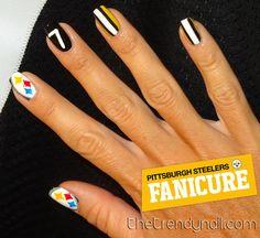 NFL Steelers Football nail art   My Nail Art   Pinterest   Nail ...