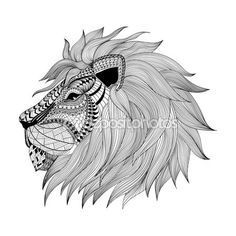 Zentangle estilizado cara de leão. Mão desenhada doodle vector illustrat