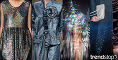 Going further into deep space, other styles incorporate darker colors and intense sparkle. Ashish's coated dress catches the light with rainbow holographic tints, as Ryan Lo's vintage futuristic ensemble mixes ruffled edgings with elasticized hems in a shimmery blue. Additionally, Louis Vuitton's wool coat is updated with sequined embellishment that graduates from light to heavy in texture.