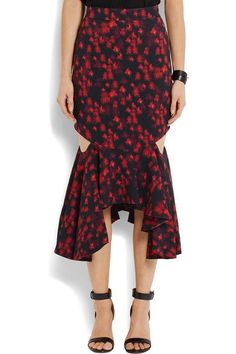 Black, tonal-red and green stretch-satin Cutouts, ruffled asymmetric hem Concealed hook and zip fastening at back 97% viscose, 3% elastane; trim: 50% cotton, 50% viscose; lining: 71% acetate, 29% silk Dry clean Made in France