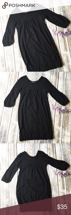 Zara Adorable 3/4 Sleeve Black Bubble Dress 💣 ★ Excellent condition.  ★ This awesome black 3/4 sleeve bubble dress from Zara is an absolute must have! Perfect for fall and winter. ★ Viscose, cotton, elastase. ★ NO TRADES! 🚫 ★ NO MODELING! 🚫 ★ YES REASONABLE OFFERS! ✅ ★ Measurements available by request and as soon as possible! 💁🏼 Zara Dresses