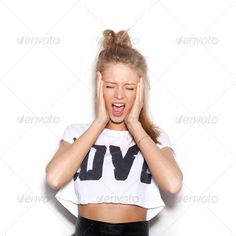 Very upset and emotional woman ...  Expressing, adult, background, beautiful, beauty, brunette, casual, caucasian, close-up, cry, crying, depression, despair, distraught, emotional, expression, eye, face, facial, fashion, female, frustration, furious, girl, glamour, grimacing, hand, illness, lady, model, mouth, naughty, one, open, people, person, portrait, posing, shock, stress, style, stylish, teen, teenage, trendy, white, woman, young, youth