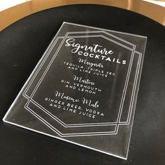 Acrylic Wedding Cocktail Drinks Menu | Perspex Menu | Wedding drinks menu | Wedding Table Menu | Engraved Menu | Personalised Wedding Menu Wedding Drink Menu, Wedding Table, Wedding Day, Cocktail Menu, Signature Cocktail, Tequila, Vodka, Place Names, Ginger Beer