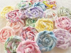 Items similar to Fabric Flowers Pastel Rolled Roses Candy Applique Hairclip Pinwheel Lollipop Bobby Pin Rosette Scrapbook Handmade Wholesale 20 on Etsy Rose Wedding, Wedding Flowers, Fabric Garland, Pinwheels, Rosettes, Pastel Colors, Fabric Flowers, Twine, Hair Clips