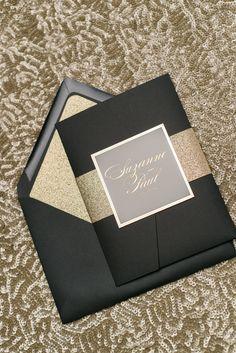LAUREN Suite Glitter Pocket Folder Package, black and gold, gold glitter, gold foil wedding invitation