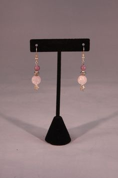 Silver and pink leaf dangle earrings. Mountain Laurel Boutique