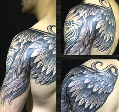 Guys Bird Wing Tattoo On Shoulder