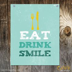 Eat Drink Smile Print Home Decor  Kitchen Art   Dining by evivart, $12.00
