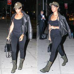 Rihanna in Silver Spoon Attire green suede cameo cap, Citizens of Humanity Avedon skinny jeans in Axel, Acne Studios Rita black leather jacket, Giuseppe Zanotti Blok green suede combat boots, Balenciaga Le Dix Cartable satchel handbag