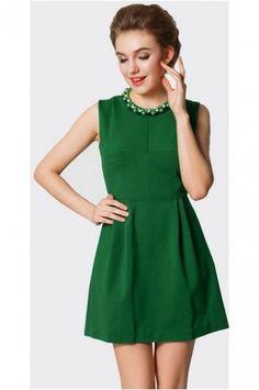 Green beaded neckline A-line dress
