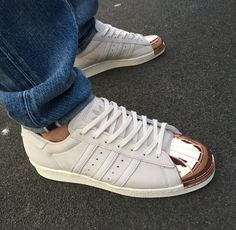 I absolutely love the Copper toe Superstars. #sneakers