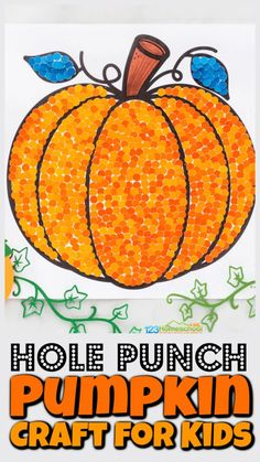 This super cute, simplepumpkin craft for kids is sure to be a hit with your children. Simply print the free printable pumkin craft template and hole punch paint swatch samples to create a truly beautifulfall craft for preschool, pre-k, toddler, kindergarten, first grade, 2nd grade, and 3rd graders. Not only does thisautumn crafthave a rich, deep color, but it is great for strengthening hand muscles and refining that pincer grasp too.