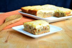 Carrot Cake Blondies | This dessert bar recipe is perfect if you're celebrating Easter with a large group of people!