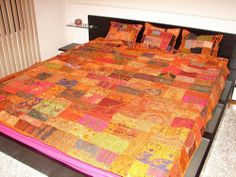 """80"""" LARGE ORANGE BEADED INDIAN TAPESTRY THROW SEQUINED PATCHWORK BEDSPREAD NEW"""
