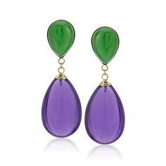 Green Jade and Amethyst Teardrop Earrings in 14kt Yellow Gold