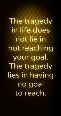 The tragedy in life does not lie in reaching your goal. Get after 2013 and make your career and personal goals happen!