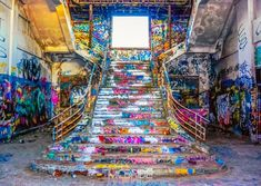 Graffitied staircase in the Abandoned Fremantle Power Station - Western Australia - Stairs, Designs Of Stairs Inside House, Home Stairs Ideas, Staircase Design Ideas, Modern And Retro Staircase Designs For Big And Small Homes