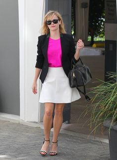 Reese Witherspoon wearing Ray-Ban Original Wayfarer 2140 Sunglasses in Black Saint Laurent Duffel bag Proenza Schouler Two-Tone Leather Sandals