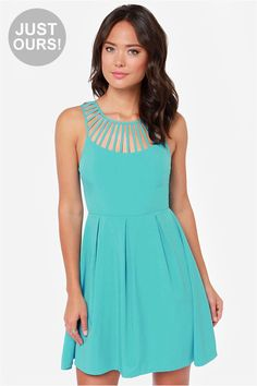 LULUS Exclusive Cage-ean Sea Turquoise Dress at LuLus.com! http://pbly.co/EA_d64