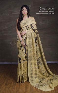 Buy Hand Painted Chennur Silk Kalamkari Saree with Organic Dye in Beige and Black. Kalamkari Saree, Product Page, Cotton Silk, Sari, Hand Painted, Beige, Black, Fashion, Saree