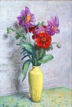 Henri Vincent Anglade - VASE D'ANÉMONES; Creation Date: 1925; Medium: oil on canvas; Dimensions: 21.65 X 14.96 in (55 X 38 cm)