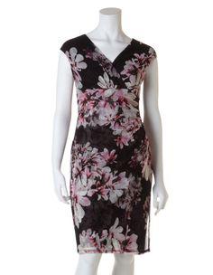 Azalea Print Shift Dress, Pink/Black/Ivory