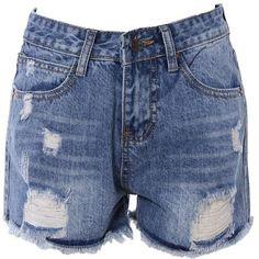 Bleach Wash Frayed Denim Shorts ($14) ❤ liked on Polyvore featuring shorts, bottoms, frayed shorts, denim short shorts, bleached shorts, denim shorts and jean shorts