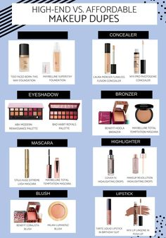 High-End ____Makeup Dupes: Drugstore Vs. High-End ____Dupes: Drugstore Vs. High-End ____Makeup Dupes: Drugstore Vs. High-End ____ Drugstore Makeup Dupes, Beauty Dupes, Beauty Makeup, Eye Makeup, Beauty Care, Diy Beauty, Beauty Skin, Beauty Ideas, Makeup Style