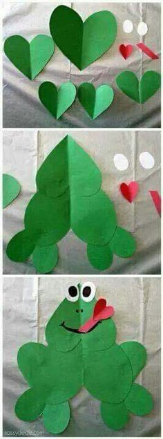 Frog craft using hearts
