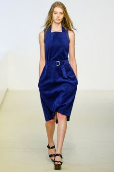 comfortable blue suede apron dress by Calvin Klein, Spring 2014