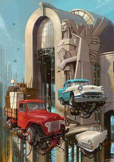 Turbo-Reactive Diesel-Punk: Flying Retro Cars Por Alejandro BurdisioYou can find Diesel punk and more on our website.Turbo-Reactive Diesel-Punk: Flying Retro Ca. Arte Sci Fi, Sci Fi Art, Diesel Punk, Fantasy Landscape, Fantasy Art, Carros Retro, Art Science Fiction, New Retro Wave, Flying Car