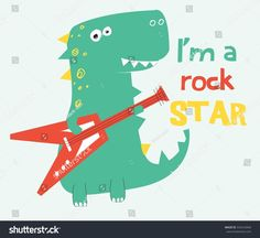 Find Rock Star Dinosaur Vector Illustrationtshirt Graphics stock images in HD and millions of other royalty-free stock photos, illustrations and vectors in the Shutterstock collection. Star Illustration, Illustrations, Drawing For Kids, Art For Kids, Dino Kids, Birthday Cards For Mom, Kids Vector, Cute Dragons, Kids Logo