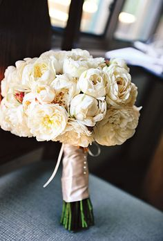 Cabbage Roses. Kinda look like peonies! Love them! Add a few blush colored peonies, perfect! :-)