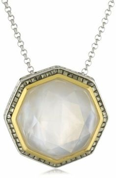 popesco gold octagon necklace pendant catherine octagonal crystal and