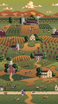 "Riley Blake Designs ""Country Harvest"" by Dowdle Folkart. 100% cotton, pattern C2620 Multi- Main"